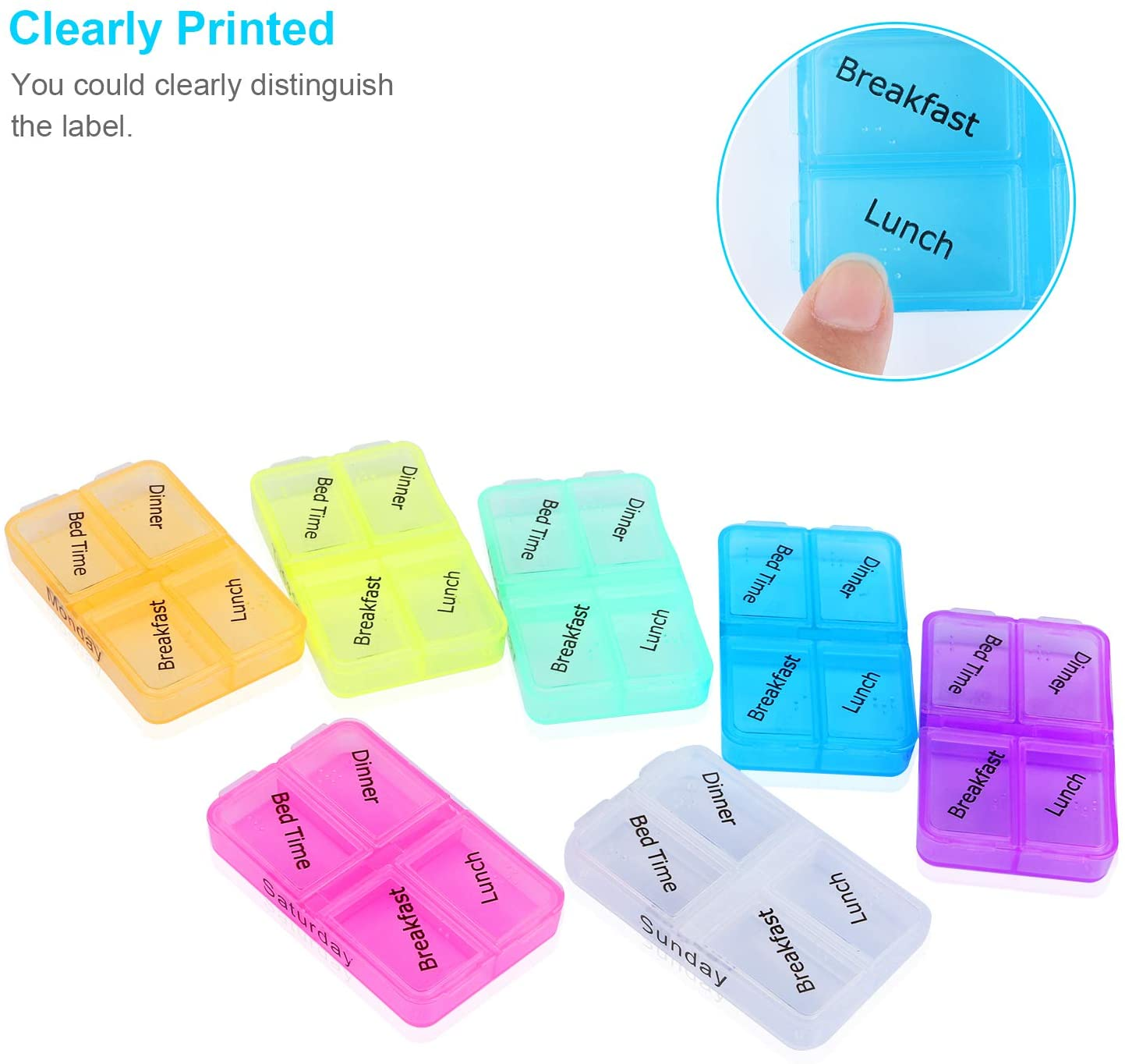 Weekly Pill Organizer,Daily Pill Organizer 7 Day 4 Compartment Pill Box Case