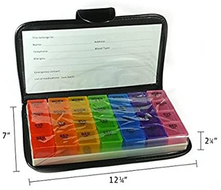 Cute Travel Medication Reminder Daily AM PM, Day Night 7 Compartments-Includes Black Leather PU Carrying Case