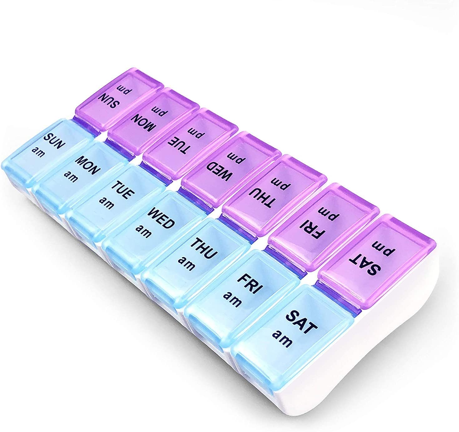 Twice a Day Detachable Weekly BPA Free Travel 7 Day Pill Box Case with Moisture-Proof Design