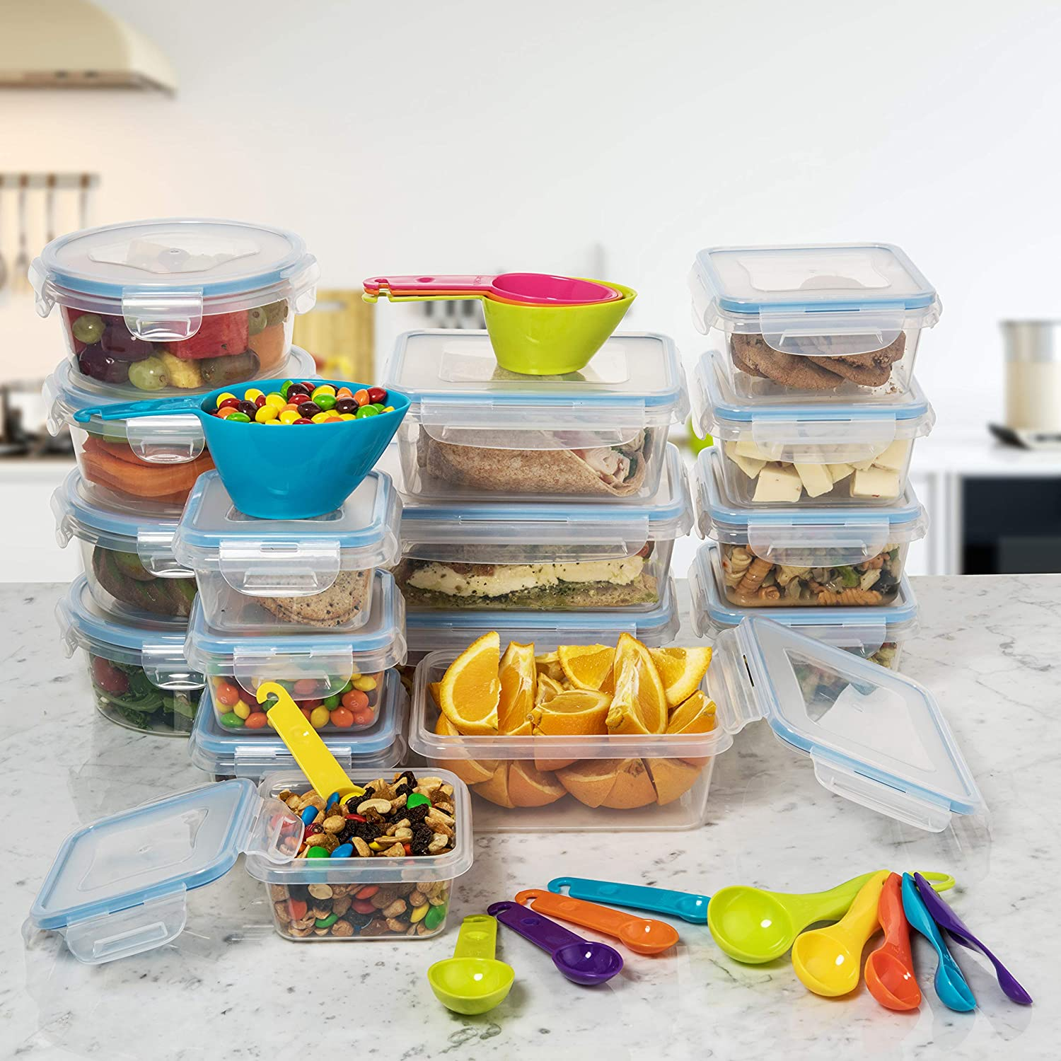 Airtight Leak Proof Easy Snap Lock Lunch Box BPA-Free Plastic Storage Container Set